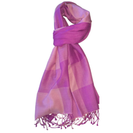 Lavender Pink Plaid 50% Silk and 50% Cashmere Scarf Accessory Tznius Head Covering