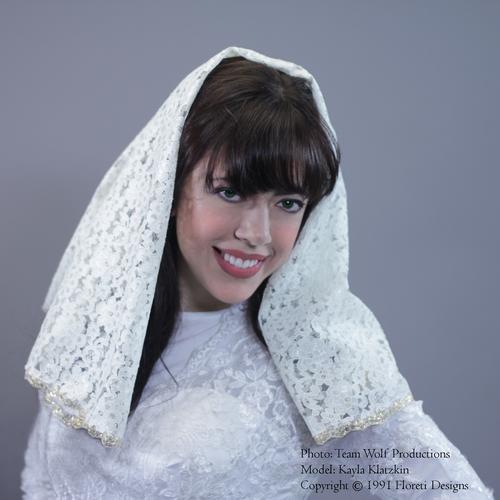 Bridal Mantilla Veil Medium Length Double Layer Detachable Ivory Gold, Tznius Head Covering, Wedding Veil