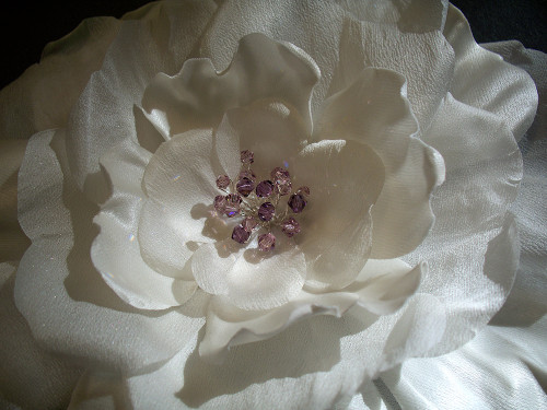 White Poppy Rose Bridal Sash Lilac Swarovski Wedding Dress Accessory