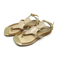 Shoes Vince Camuto Basso Flat Sandals Genuine Leather w Off White and Gold Metalic Color 7-1/2B (177696)