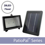 The PatioPal solar flood light features 28 super bright LEDs (cool white color) and is powered by a 2W, high-efficiency monocrystalline solar panel and 6v / 2000mah Li-Ion battery. The PatioPal 28LED is compact, lightweight and extremely affordable. The most popular applications include:  Flood / area lighting Flag lighting Statue / fountain lighting Small sign lighting On a full charge, the PatioPal 28LED flood light will run for a full 10-12 hours a night in residential, commercial and municipal applications.  The 28LED super bright solar flood light features:  28 Super Bright LEDs / 100 Lumens 50,000 Hours LED Lifetime 2W High-Efficiency Monocrystalline Solar Panel Durable ABS Plastic Solar Panel Frame Weatherproof Aluminum Light Fixture w/ Mounting Bracket 3.7V / 2000mAH Li-Ion Battery Electricity Bill & Maintenance Free Mounting Options  The PatioPal 28LED solar light includes a standard ground-stake for easy, secure ground-level mounting. It also comes with pre-drilled mounting holes, which can be used to bolt/screw your light into a wall, a post or even with a wire bracket to mount it on a metal pole. If you have any questions regarding mounting options for your PatioPal 28LED,