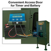 Easy Access Door Protects Timer and Battery from the Elements