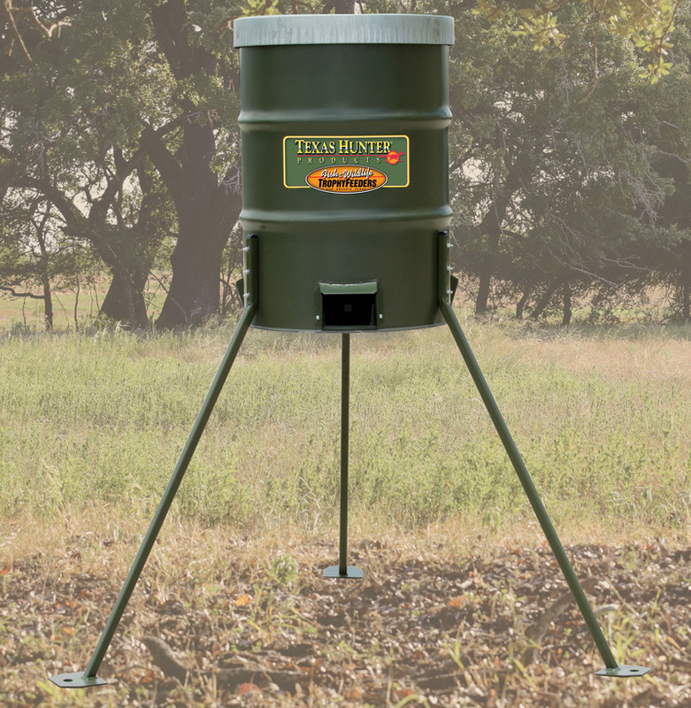 300 lb protein barrel feeder texas hunter products for Texas hunter fish feeder