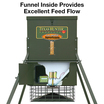 Cutaway view showing the motor and galvanized funnel inside the 300 lb capacity scatter deer feeder by Texas Hunter Products