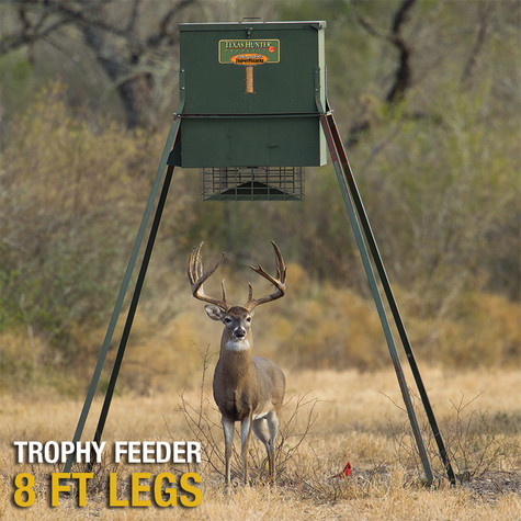 Texas Hunter 650 lb. Wildlife Trophy Feeder with 8-foot Extension Legs