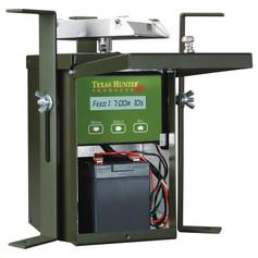 Texas Hunter 12 Volt Wildlife Feeder Kit Inside View wtih 12 Volt Rechargable Battery