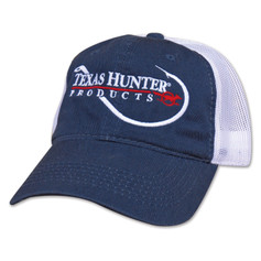 Texas Hunter Navy Blue Mesh Back Cap with Fish Hook Logo