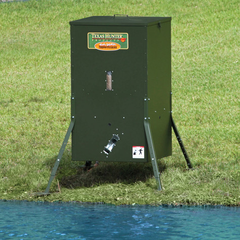 250 Lb Lake Pond Fish Feeder With Adjustable Legs Texas Hunter