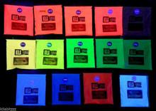 Ultra glow in the dark fluorescent powder viewed in UV blacklight