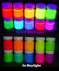 Fluorescent paint 30ml in UV blacklight and daylight.