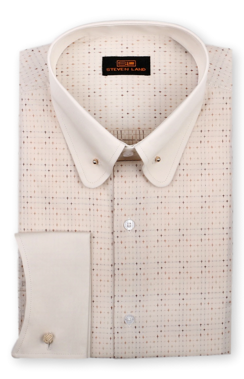 Steven Land 100% Cotton  Cuff Shirt Comes In A Variety Of Colors And Styles. Prices are exclusive to online sales.  100% Cotton Woven Jacquard Fabric   Contrast collar and cuffs   Classic Fit   Club collar with bar   Plain Front