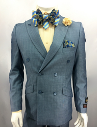 This Falcone suit is composed of a double breasted blazer with a regular fit pant. Pair this item with a variety of bowties and buttons. Prices are exclusive to online sales.