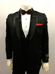 Blu Martini two piece suit is sleek subtle and everything you want in a black suit. Prices are exclusive to online sales.