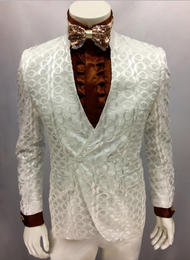 Gq got you covered with this unique Chinese Collar and spiral pattern. Dress it up or down this suit will shut it down. Prices are exclusive to online sales.