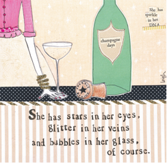 Bubbles in Her Glass Card