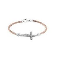 MONTREAUX DIAMOND CROSS CABLE ROSE BRACELET