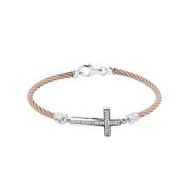 MONTREAUX DIAMOND CROSS CABLE ROSE BRACELET