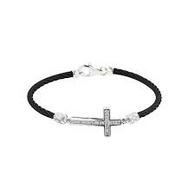 Montreaux Sideways Cross Diamond Black Cable Bracelet