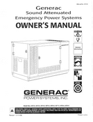 GENERAC SOUND ATTENUATED EMERGENCY POWER SYSTEMS OWNERS MANUAL (A7218) DOWNLOAD