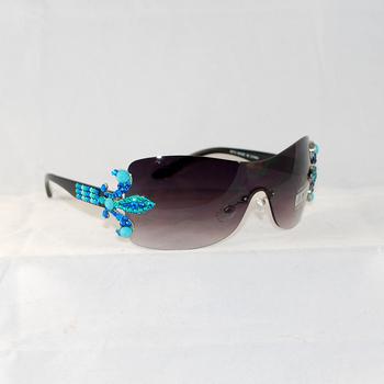 Bling Crystal Fleur de lis Rimless Sunglasses