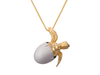 Denny Wong 14k two tone Hatching Sea Turte Pendant with Diamonds