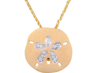 Denny Wong 14k Yellow gold and Diamond Sand Dollar Pendant