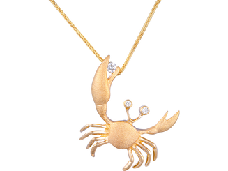 Denny Wong 14k Yellow gold Crab pendant with Diamond