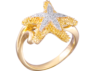Denny Wong 14k two tone Starfish ring with Diamonds