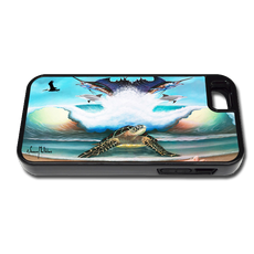 """iPhone 5 & 5s fine art phone case"" by artist Jason Mathias: Carry around this unique piece of personalized art of a Sea Turtle on the beach standing guard over an ocean wave, sailfish, Dolphins, pelicans and seashells while protecting your phone all at the same time!"