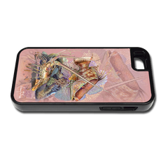 """iPhone 5 & 5s fine art phone case"" by artist Jason Mathias: Girls, carry around this unique piece of personalized art of a pink Hogfish and Spiny Lobster on a coarl reef while protecting your phone all at the same time!"