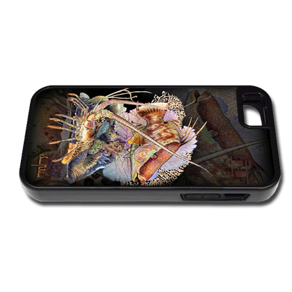 """iPhone 5 & 5s fine art phone case"" by artist Jason Mathias: Carry around this unique piece of personalized art of a Hogfish and Spiny Lobster on a coarl reef while protecting your phone all at the same time!"