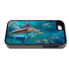 """iPhone 5 & 5s fine art phone case"" by artist Jason Mathias: Carry around this unique piece of personalized art of a Black Marlin corralling up a school of Shark Mackerel while protecting your phone all at the same time!"
