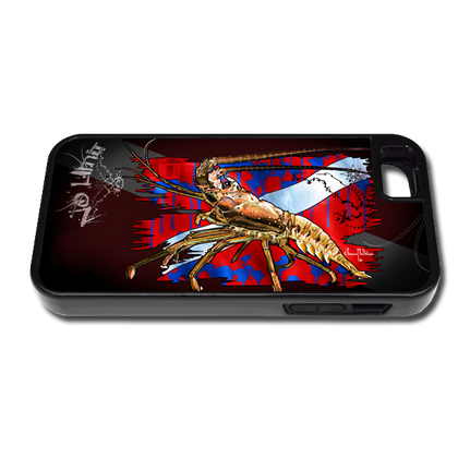 """iPhone 5 & 5s fine art phone case"" by artist Jason Mathias: Carry around this unique piece of personalized art of a Spiny Lobster and Dive Flag while protecting your phone all at the same time!"