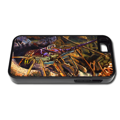 """""""iPhone 5 & 5s fine art phone case"""" by artist Jason Mathias: Carry around this unique piece of personalized art of a Spiny Lobster in a hole while protecting your phone all at the same time!"""