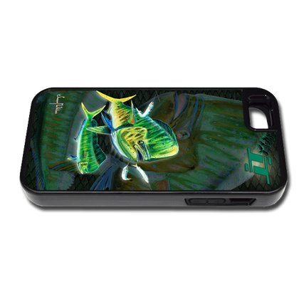 """iPhone 5 & 5s fine art phone case"" by artist Jason Mathias: Carry around this unique piece of personalized art of a Mahi, Dorado, or Dolphin while protecting your phone all at the same time!"