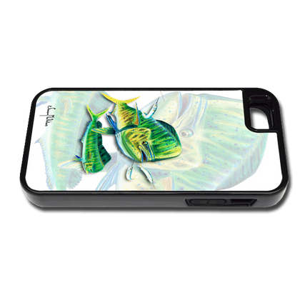 """""""iPhone 5 & 5s fine art phone case"""" by artist Jason Mathias: Carry around this unique piece of personalized art of a Mahi, Dorado, or Dolphin while protecting your phone all at the same time!"""