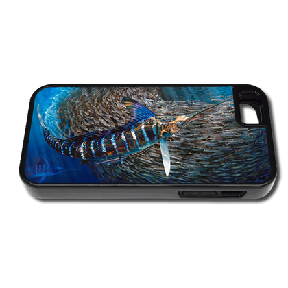 """iPhone 5 &5s fine art phone case"" by artist Jason Mathias: Carry around this unique piece of personalized art of a Striped Marlin corralling a school of Tinker Mackerel while protecting your phone all at the same time!"