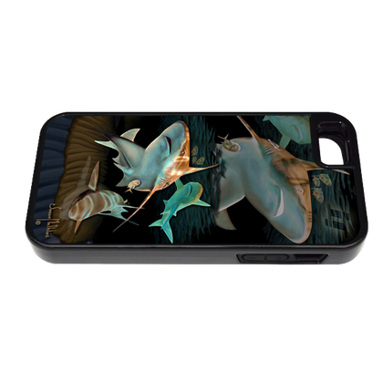 """""""iPhone 5 & 5s fine art phone case"""" by artist Jason Mathias: Carry around this unique piece of personalized art of three sandbar sharks gliding over a sandbar while protecting your phone all at the same time!"""