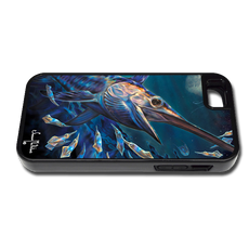 """iPhone 5 & 5s"" fine art phone case"" by artist Jason Mathias: Carry around this unique piece of personalized art of an illusive Swordfish stalking Squid in a underwater night scene while protecting your phone all at the same time!"