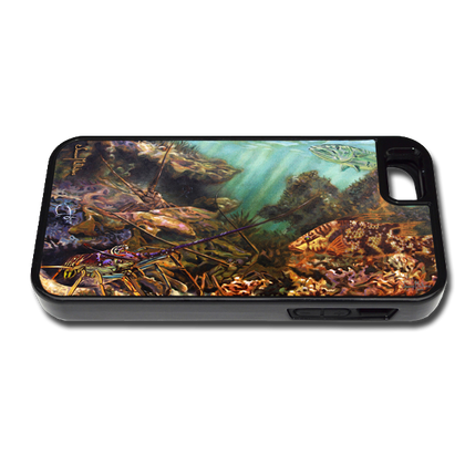 """iPhone 5 & 5s fine art phone case"" by artist Jason Mathias: Carry around this unique piece of personalized art of Lobster filled ledges with a camouflaged Hogfish and curious Barracuda while protecting your phone all at the same time!"