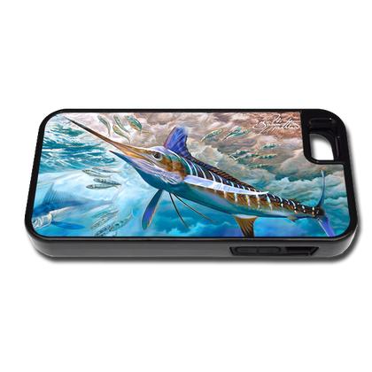 """iPhone 5 & 5s fine art phone case"" by artist Jason Mathias: Carry around this unique piece of personalized art of a lit up White Marlin competing with a Spearfish over Sardines while protecting your phone all at the same time!"