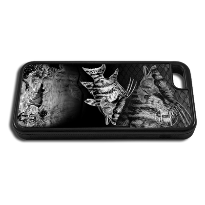 """iPhone 5c fine art phone case"" by artist Jason Mathias: Carry around this unique piece of personalized art of a Hogfish and Spiny Lobster hole in black and white while protecting your phone all at the same time!"