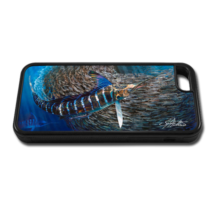 """iPhone 5c fine art phone case"" by artist Jason Mathias: Carry around this unique piece of personalized art of a Striped Marlin corralling a school of Tinker Mackerel while protecting your phone all at the same time!"