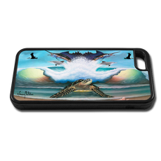 """iPhone 5c fine art phone case"" by artist Jason Mathias: Carry around this unique piece of personalized art of a Sea Turtle on the beach standing guard over an ocean wave, sailfish, Dolphins, pelicans and seashells while protecting your phone all at the same time!"
