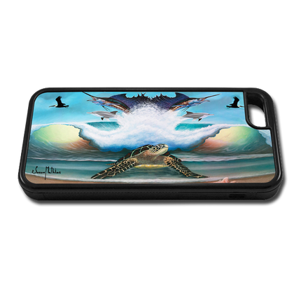 """""""iPhone 5c fine art phone case"""" by artist Jason Mathias: Carry around this unique piece of personalized art of a Sea Turtle on the beach standing guard over an ocean wave, sailfish, Dolphins, pelicans and seashells while protecting your phone all at the same time!"""
