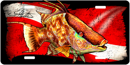 Features: Jason Mathias Heavy Duty Aluminum Metal License Plates! Artwork of a Hogfish infront of a dive flag is Featured in a Radiant Shiny High Gloss! A perfect gift for the avid fisherman who enjoys sportfishing, gamefish and art. Fine Art in Vivid Colors with Crisp Super High Detail! Completely Weatherproof with UV protection and moisture resistant technology to ensure the Highest Quality! You can Easily and Safely Customize your Vehicle immediately!