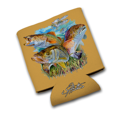 "Jason Mathias Art Koozies & Coolie Cups: Featuring the ""Inshore Slam"" with a Snook, Redfish and Speckled Trout!"