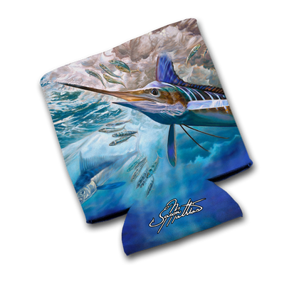 """Jason Mathias Art Koozies & Coolie Cups: Featuring """"White Rabbit"""" A beautiful White Marlin all lit up going after a school of sardiens!"""
