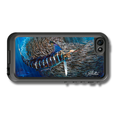 """iPhone 5, 5s & 5c fine art LifeProof Skin"" by artist Jason Mathias: Carry around this unique piece of personalized art of a striped marlin and baitball while protecting your phone all at the same time!"