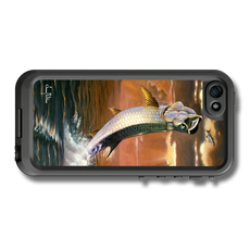 """""""iPhone 5, 5s & 5c fine art LifeProof Skin"""" by artist Jason Mathias: Carry around this unique piece of personalized art of a mighty Tarpon framed by a blazing sunset while protecting your phone all at the same time!"""
